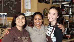 Kai Smith at her coffeeshop, Kai's Koffee